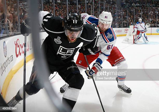 Rick Nash of the New York Rangers chases Anze Kopitar of the Los Angeles Kings in the second period of Game Five of the 2014 Stanley Cup Final at the...