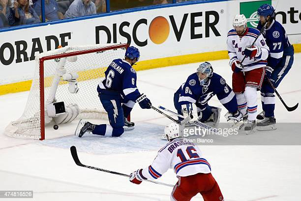 Rick Nash of the New York Rangers scores a goal against Andrei Vasilevskiy of the Tampa Bay Lightning during the third period in Game Six of the...