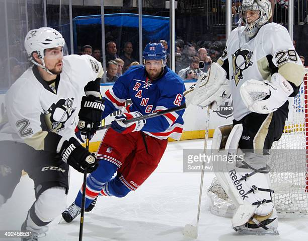Rick Nash of the New York Rangers skates against Matt Niskanen and MarcAndre Fleury of the Pittsburgh Penguins in Game Six of the Second Round of the...
