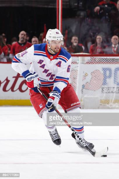 Rick Nash of the New York Rangers skates with the puck against the Ottawa Senators at Canadian Tire Centre on December 4 2017 in Ottawa Ontario Canada