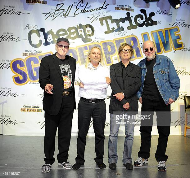Rick Nielsen Robin Zander Tom Petersson and Bun E Carlos attend a press conference announcing the new ''Sgt Pepper Live'' show featuring Cheap Trick...