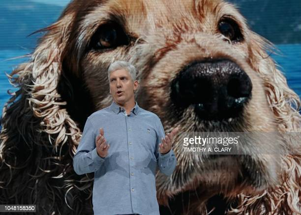 Rick Osterloh Google's senior vice president of hardware speaks before a photo taken with the Google Pixel 3 smartphone during the official launch of...