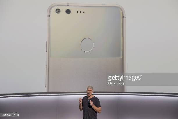 Rick Osterloh senior vice president of hardware for Google Inc speaks about the Google Pixel 2 smartphone during a product launch event in San...