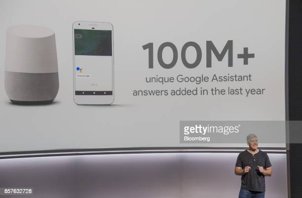 Rick Osterloh senior vice president of hardware for Google Inc speaks about the Google Home voice speaker during a product launch event in San...