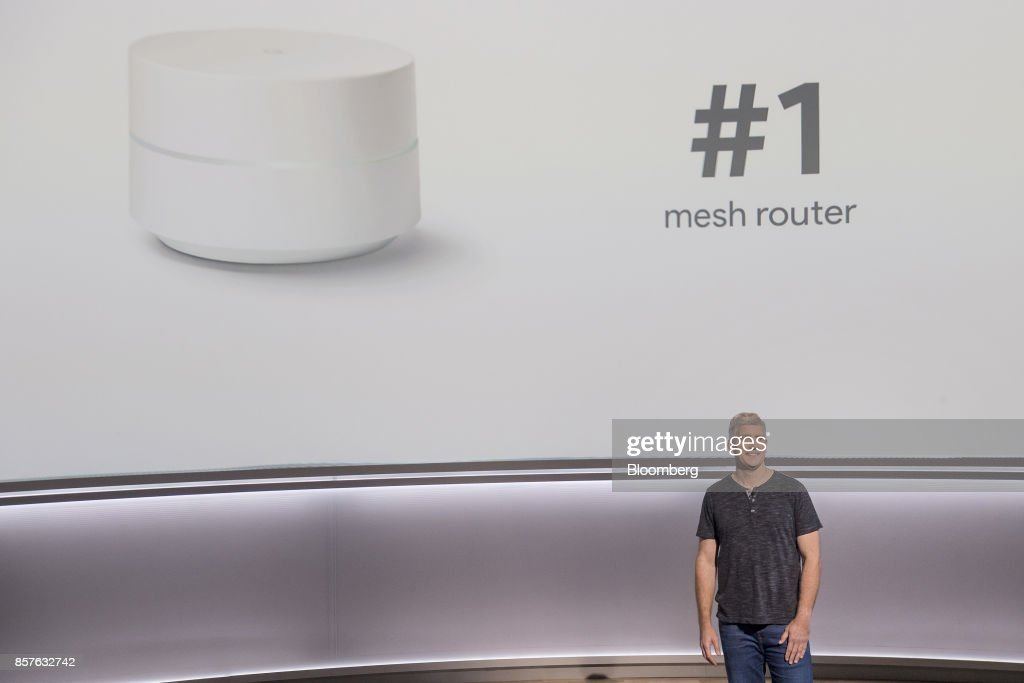 Rick Osterloh, senior vice president of hardware for Google Inc., speaks about the Google Wifi mesh router during a product launch event in San Francisco, California, U.S., on Wednesday, Oct. 4, 2017. Google unveiled the second generation of its own devices along with an array of entirely new gadgets, plowing the company deeper into a competitive consumer hardware market. Photographer: David Paul Morris/Bloomberg via Getty Images
