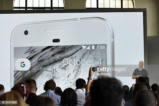 Rick Osterloh senior vice president of hardware for Google Inc discusses the Google Pixel smartphone during a Google product launch event in San...