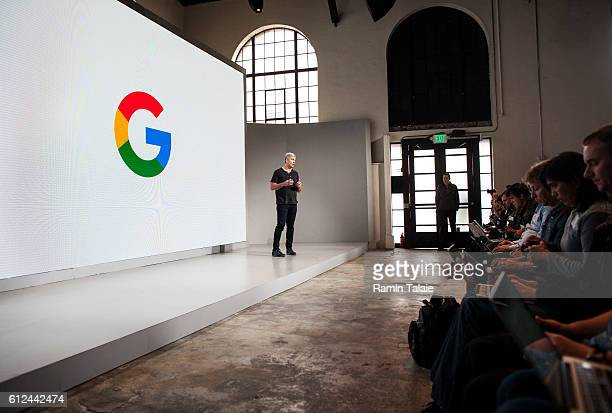 Rick Osterloh SVP Hardware at Google Inc speaks during an event to introduce the Google Pixel phone and other Google products on October 4 2016 in...