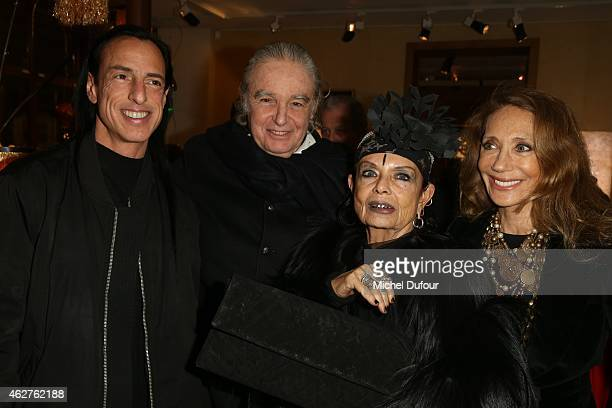 Rick Owens Patrice Calmettes Michele Lamy and Marisa Berenson attend the cocktail party for the exposition of Patrice Calmettes at Galerie Pierre...
