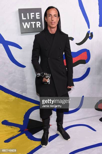 Rick Owens poses with the Geoffrey Beene Lifetime Achievement Award on the Winners Walk during 2017 CFDA Fashion Awards at Hammerstein Ballroom on...
