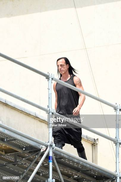 Rick Owens walks the runway after the Rick Owens Menswear Spring/Summer 2018 show as part of Paris Fashion Week on June 22 2017 in Paris France