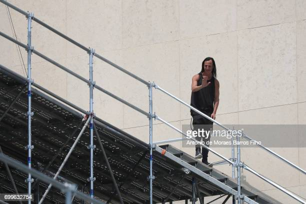 Rick Owens walks the runway during the Rick Owens Menswear Spring/Summer 2018 show as part of Paris Fashion Week on June 22 2017 in Paris France
