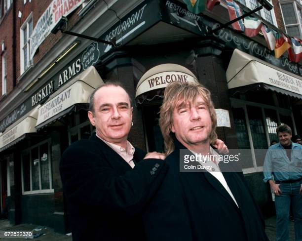 Rick Parfitt and Francis Rossi of rock band Status Quo outside the Ruskin Arms in east London 23rd March 1999