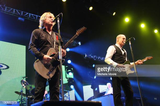 Rick Parfitt and Francis Rossi of Status Quo perform at NEC Arena on December 4 2010 in Birmingham England