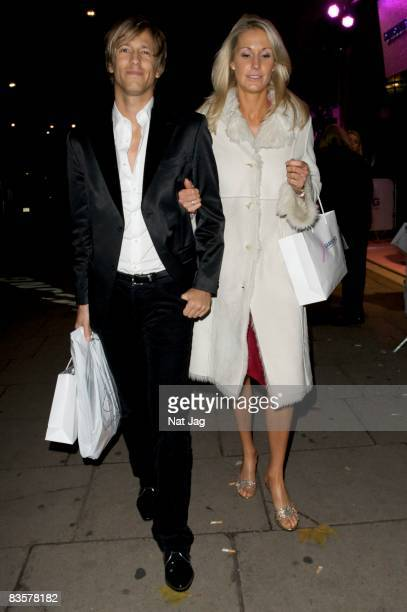 Rick Parfitt Jr and guest leave the Pink Ribbon Gala Dinner held the Park Lane Hotel on November 5 2008 in London England