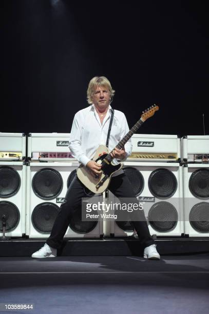 Rick Parfitt of Status Quo performs on stage at the Museumsmeile on August 24 2010 in Bonn Germany