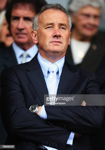 Rick Parry Chief Executive of Liverpool looks on prior to the Barclays Premier League match between Liverpool and Birmingham City at Anfield on...