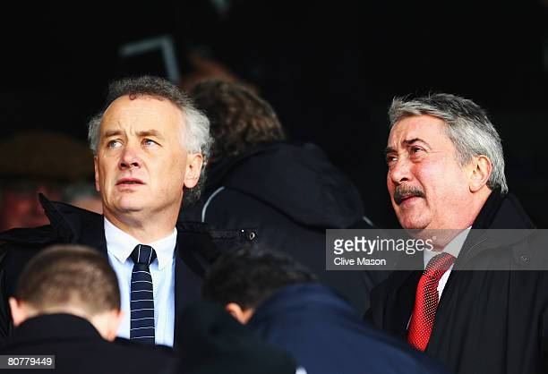 Rick Parry the Chief Executive of Liverpool Football Club and David Moores the Honorary Life President of Liverpool Football Club are seen in the...
