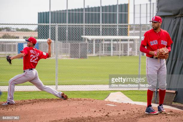 Rick Porcello and David Price of the Boston Red Sox pitch during a team workout on February 21 2017 at Fenway South in Fort Myers Florida