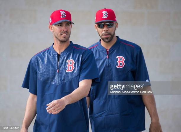 Rick Porcello and David Price of the Boston Red Sox walk onto the field on February 13 2017 at jetBlue Park in Fort Myers Florida David PriceRick...