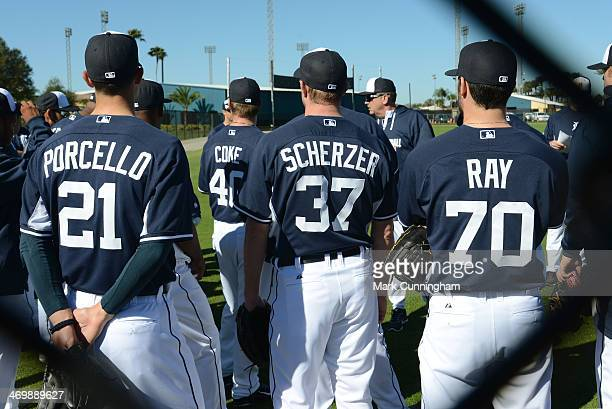 Rick Porcello Max Scherzer and Robbie Ray of the Detroit Tigers stand together during the spring training workout day at the TigerTown Complex on...
