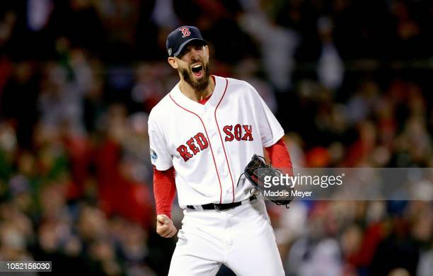 Rick Porcello of the Boston Red Sox celebrates after retiring the side in the top of the eighth inning against the Houston Astros in Game Two of the...