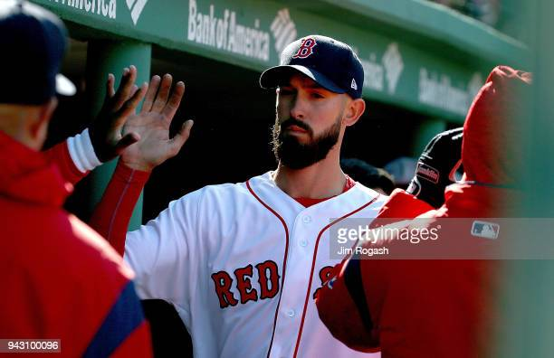 Rick Porcello of the Boston Red Sox celebrates in the eighth inning after being relieved against the Tampa Bay Rays at Fenway Park on April 7 in...