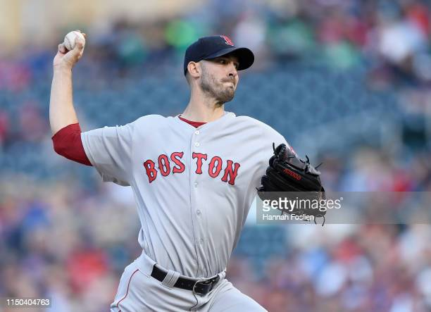 Rick Porcello of the Boston Red Sox delivers a pitch against the Minnesota Twins during the second inning of the game on June 17 2019 at Target Field...