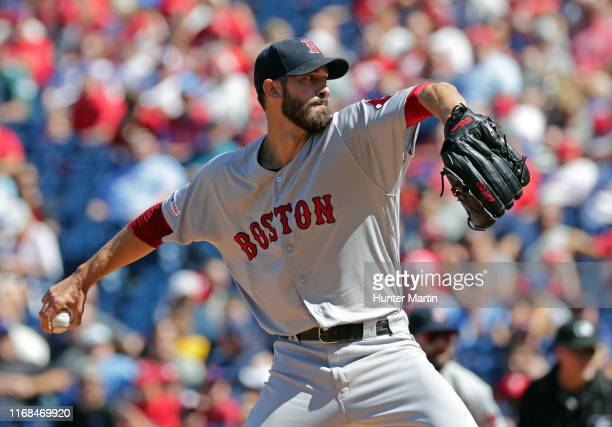 Rick Porcello of the Boston Red Sox delivers a pitch in the first inning during a game against the Philadelphia Phillies at Citizens Bank Park on...