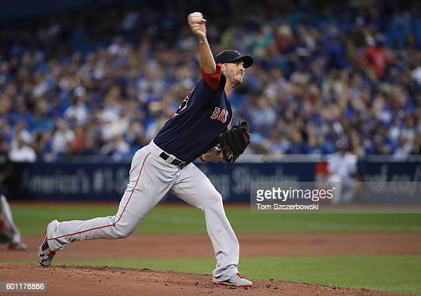 Rick Porcello of the Boston Red Sox delivers a pitch in the first inning during MLB game action against the Toronto Blue Jays on September 9 2016 at...