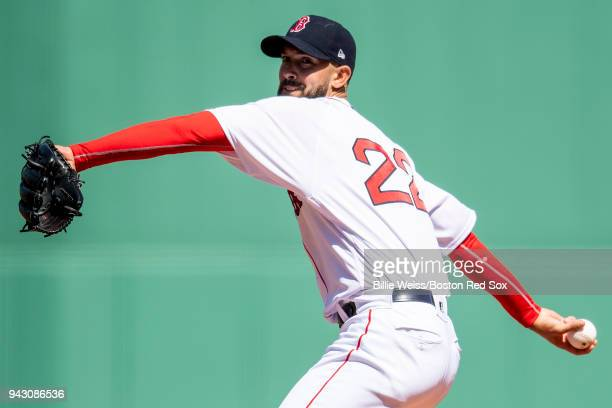 Rick Porcello of the Boston Red Sox delivers during the first inning of a game against the Tampa Bay Rays on April 7 2018 at Fenway Park in Boston...