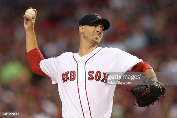 Rick Porcello of the Boston Red Sox delivers in the first inning of a game against the Toronto Blue Jays at Fenway Park on September 4 2017 in Boston...
