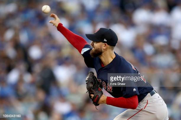 Rick Porcello of the Boston Red Sox delivers the pitch during the first inning against the Los Angeles Dodgers in Game Three of the 2018 World Series...