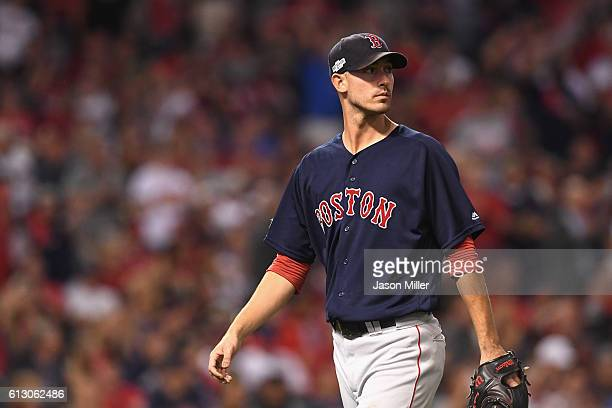 Rick Porcello of the Boston Red Sox is relieved in the fifth inning against the Cleveland Indians during game one of the American League Divison...