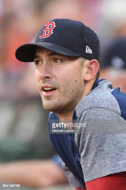 Rick Porcello of the Boston Red Sox looks on before a baseball game against the Baltimore Orioles at Oriole Park at Camden Yards on June 3 2017 in...