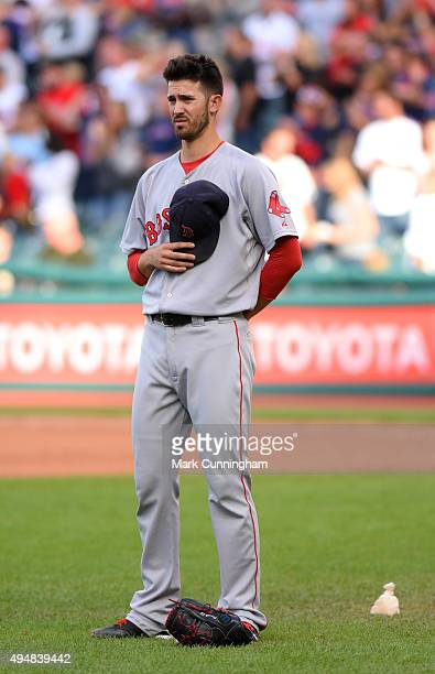 Rick Porcello of the Boston Red Sox looks on for the seventh inning stretch of the game against the Cleveland Indians at Progressive Field on October...