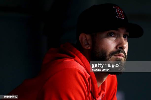 Rick Porcello of the Boston Red Sox looks on from the dugout during the second inning against the Baltimore Orioles at Fenway Park on August 17, 2019...