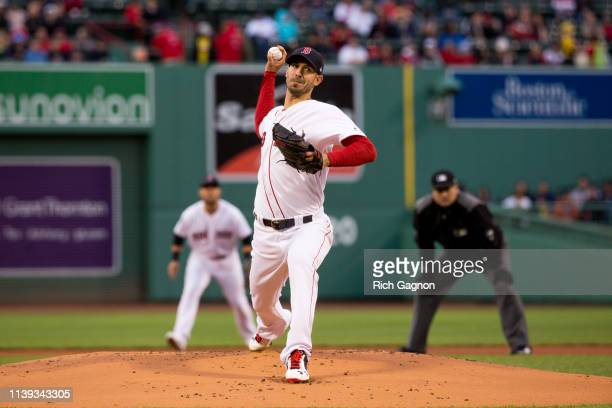 Rick Porcello of the Boston Red Sox pitches against the Detroit Tigers during the first inning at Fenway Park on April 25 2019 in Boston Massachusetts