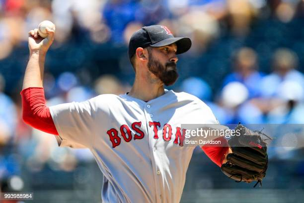 Rick Porcello of the Boston Red Sox pitches against the Kansas City Royals during the first inning at Kauffman Stadium on July 8 2018 in Kansas City...