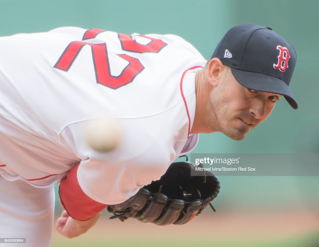 Rick Porcello #22 of the Boston Red Sox pitches against the Tampa Bay Rays in the first inning at Fenway Park on September 10, 2017 in Boston, Massachusetts.