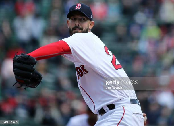 Rick Porcello of the Boston Red Sox pitches against the Tampa Bay Rays in the first inning at Fenway Park on April 7 in Boston Massachusetts