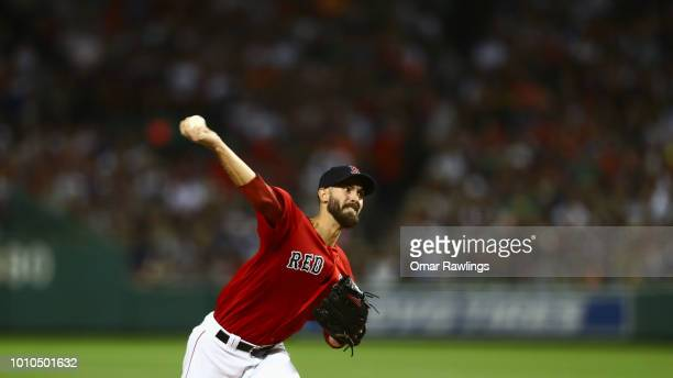 Rick Porcello of the Boston Red Sox pitches at the top of the eighth inning of the game against the New York Yankees at Fenway Park on August 3 2018...