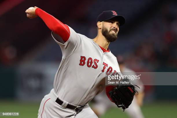 Rick Porcello of the Boston Red Sox pitches during the first inning of a game against the Los Angeles Angels of Anaheim at Angel Stadium on April 18...