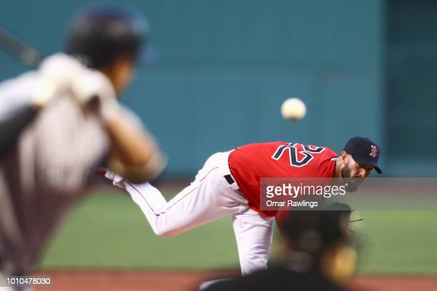 Rick Porcello of the Boston Red Sox pitches Giancarlo Stanton of the New York Yankees at the top of the first inning of the game against the New York...