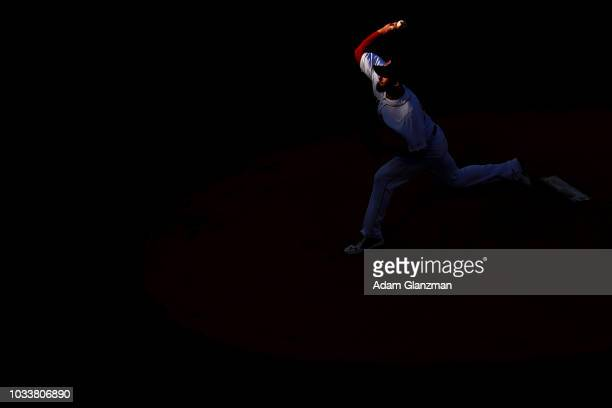 Rick Porcello of the Boston Red Sox pitches in ethics's first inning of a game against the New York Mets at Fenway Park on September 15 2018 in...