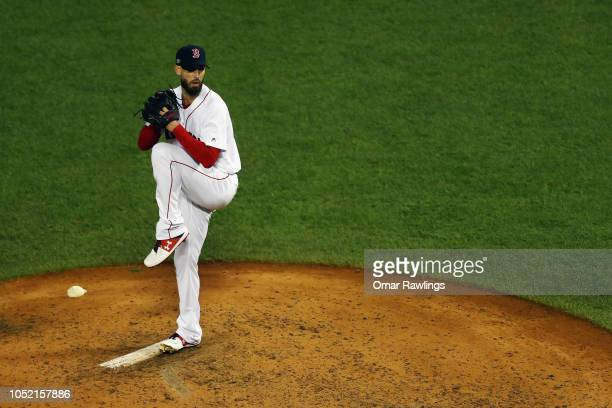 Rick Porcello of the Boston Red Sox pitches in the eighth inning against the Houston Astros during Game Two of the American League Championship...