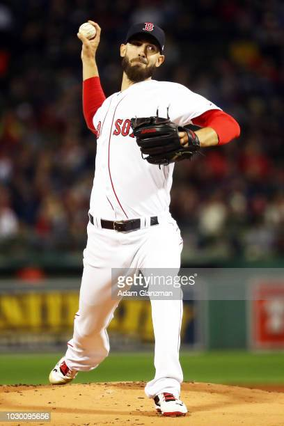 Rick Porcello of the Boston Red Sox pitches in the first inning of a game against the Houston Astros at Fenway Park on September 9 2018 in Boston...