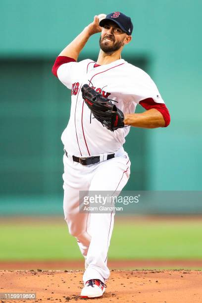 Rick Porcello of the Boston Red Sox pitches in the first inning of a game against the Kansas City Royals at Fenway Park on August 5, 2019 in Boston,...