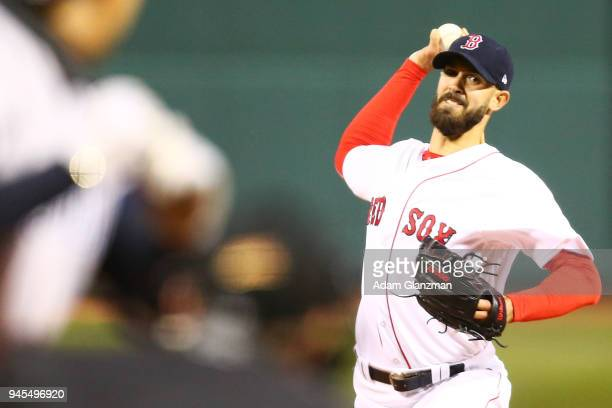 Rick Porcello of the Boston Red Sox pitches in the first inning of a game against the New York Yankees at Fenway Park on April 12 2018 in Boston...