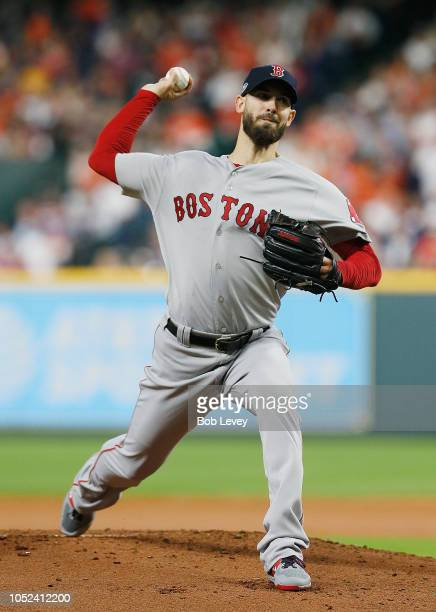 Rick Porcello of the Boston Red Sox pitches in the first inning against the Houston Astros during Game Four of the American League Championship...