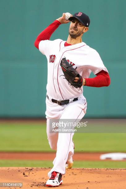 Rick Porcello of the Boston Red Sox pitches in the first inning against the Oakland Athletics at Fenway Park on April 30 2019 in Boston Massachusetts